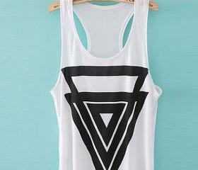 *free ship* geometry triangle pinted round neck loose tank top sleeveless aztec sv004642