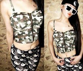 *free ship* camo bustier crop top