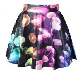 *free ship* jellyfish galaxy print pleated mini skater skirt - 1948113348